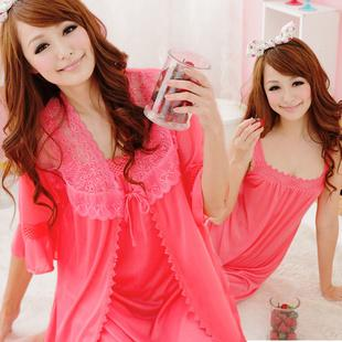 Hot~Ice Silk Comfortable 2pcs Suit (Red Melon)