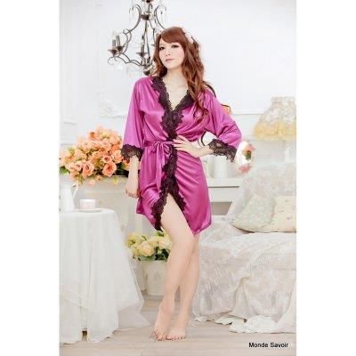 Hot noble silky shiny lace nightgown multicolor models sexy lingerie