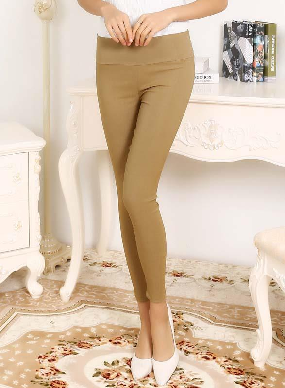 Hot Sale High Quality High Waist Long Pants (Khaki)