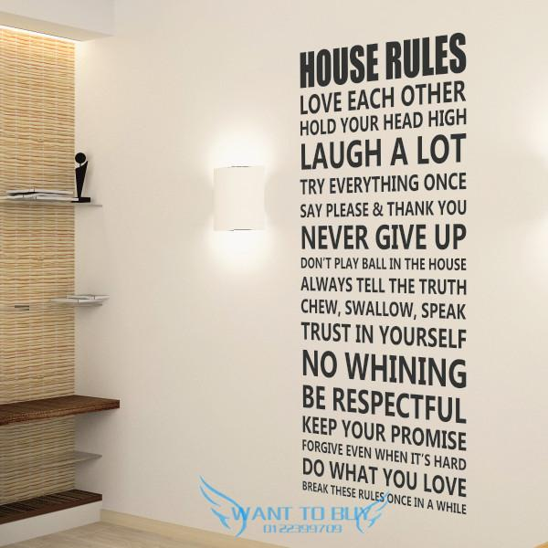 House rules wall sticker quotes and saying decals wallpaper home deco