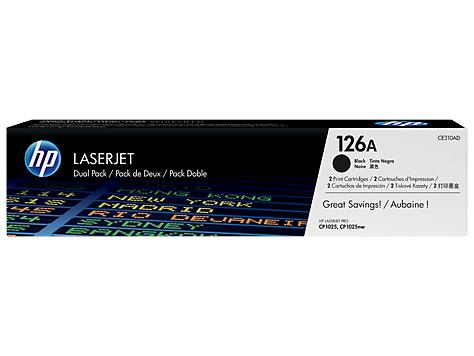 HP 126A 2-pack Black Original LaserJet Toner Cartridges (CE310AD)