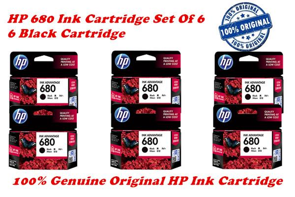 HP 680 Ink Cartridge Set Of 6 (6 Black) 100% Genuine Original