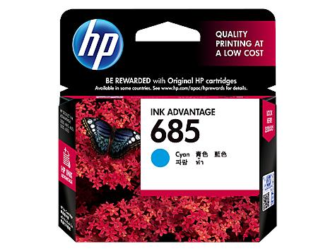 HP® 685 Cyan Original Ink Advantage Cartridge(CZ122AA)