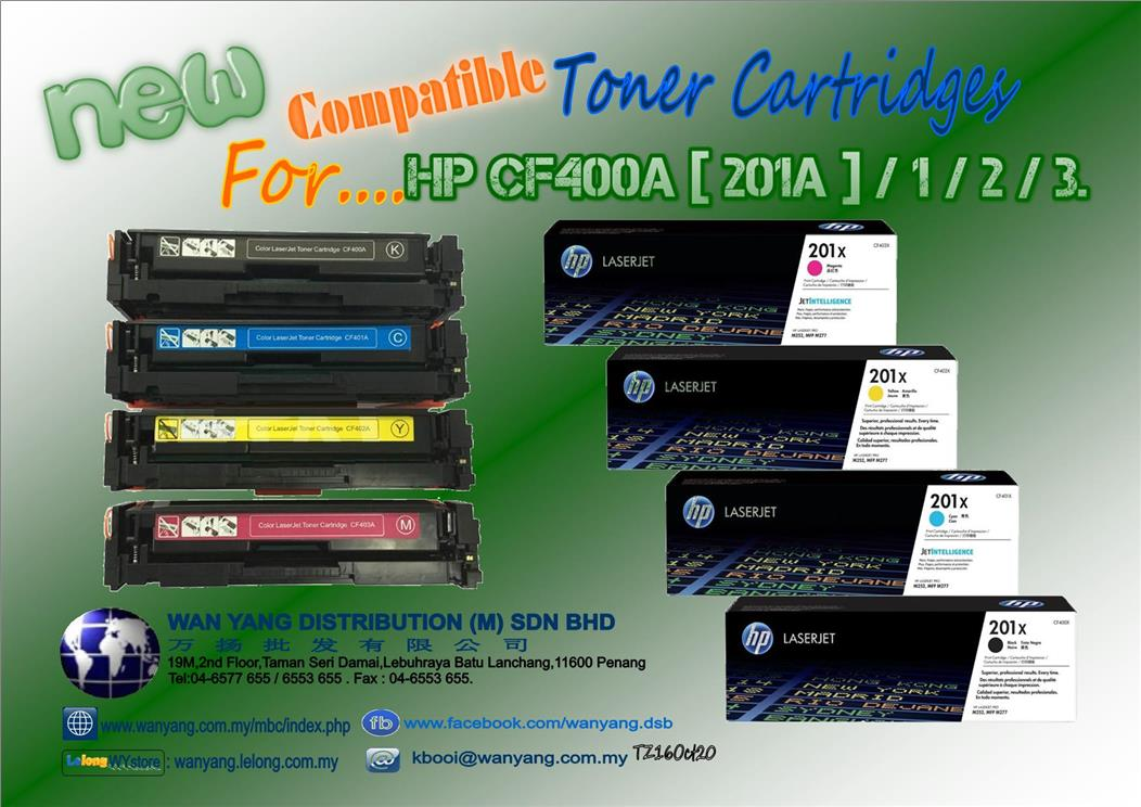 HP CF400A[201A]-401/2/3_Compatible Toner cartridges