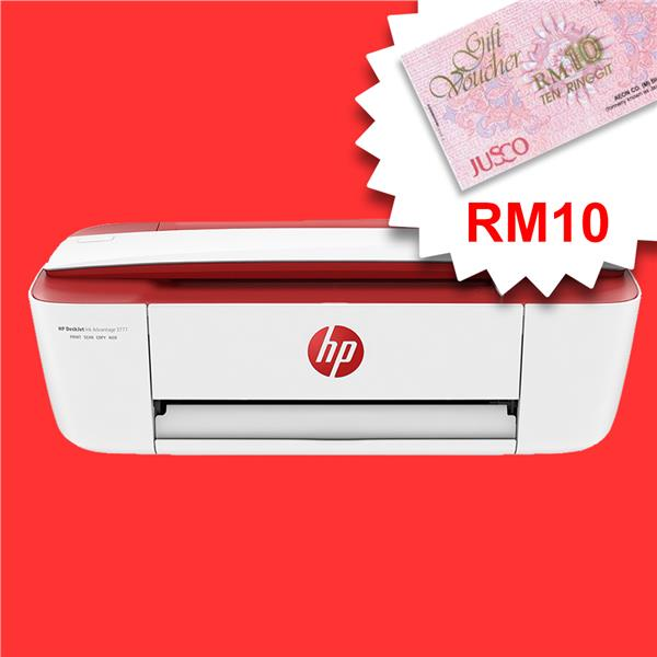 HP DeskJet Ink Advantage 3777 All-in-One Cardinal Red *FREE RM10 AEON*