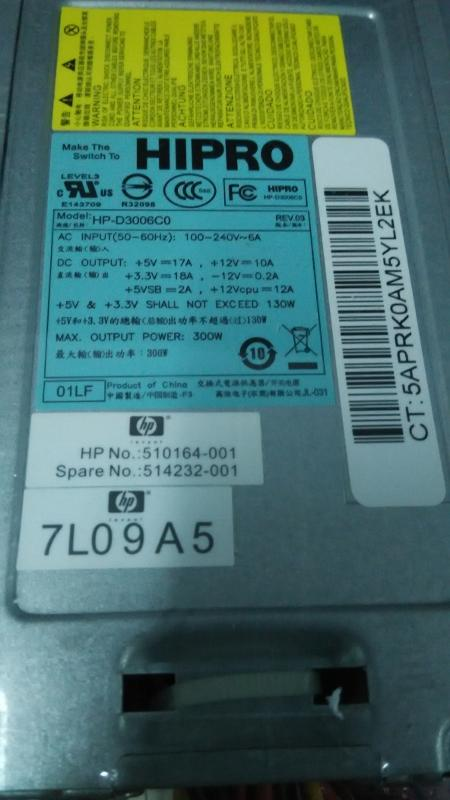 HP DX7510 Microtower MT Power Supply PSU 300W Watt D3006C0 510164-001