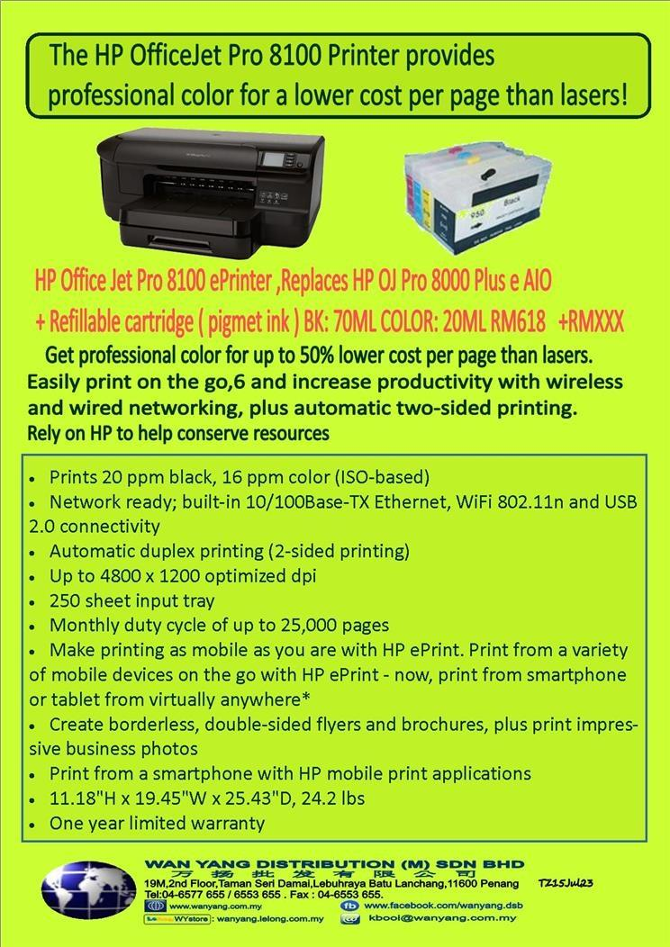 HP OfficeJet Pro 8100 + HP Refillable Cartridges Pro950/951