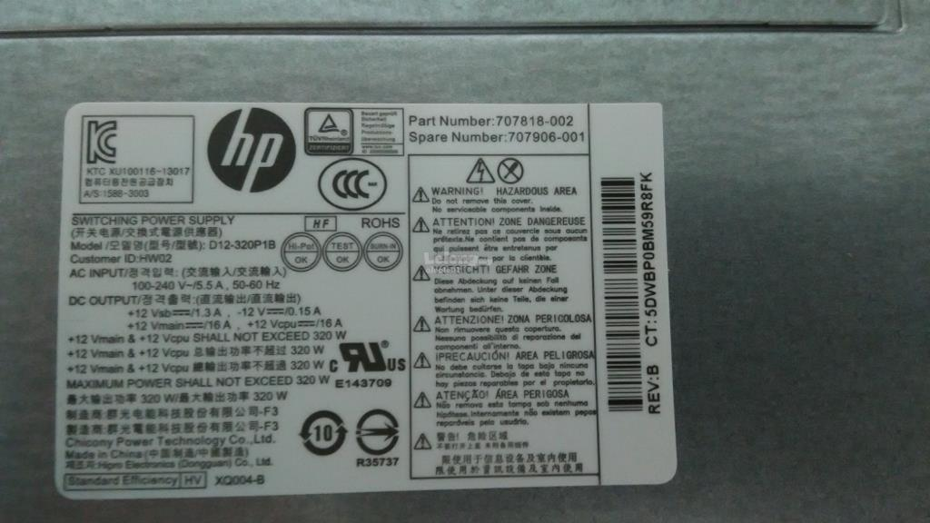 HP Prodesk 600 G1 600 G2 600G1 600G2 Tower MT PC Power Supply PSU 320W