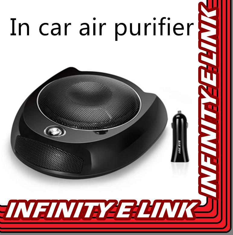 HSC USB Car Air Purifier w Activated Carbon HEPA Filter Ion Generator