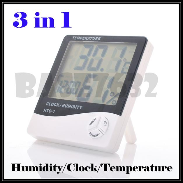 HTC-1 3 in 1  Digital Hygrometer/Thermometer/Clock Humidity Measurer