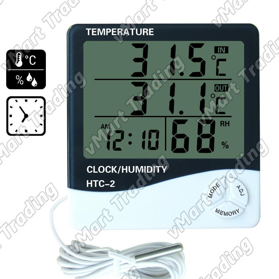 HTC-2E2T Digital Humidity Hygrometer In/Out Thermometer Clock