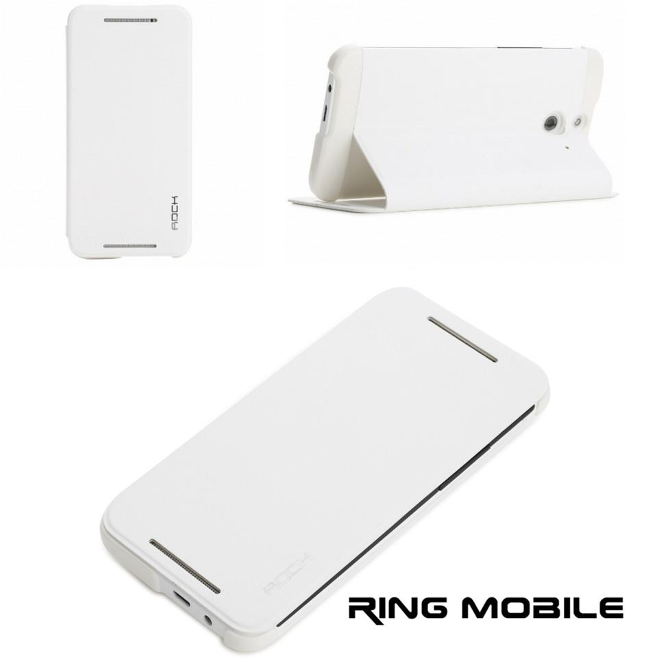 HTC One E8 Rock Uni Series Leather Case - White - rmtlee