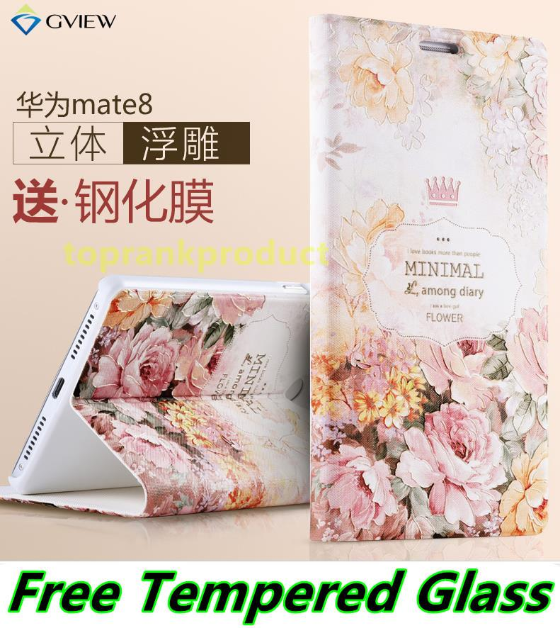 Huawei Honor 5X Mate 8 Mate8 3D Flip Case Cover Casing +Tempered Glass