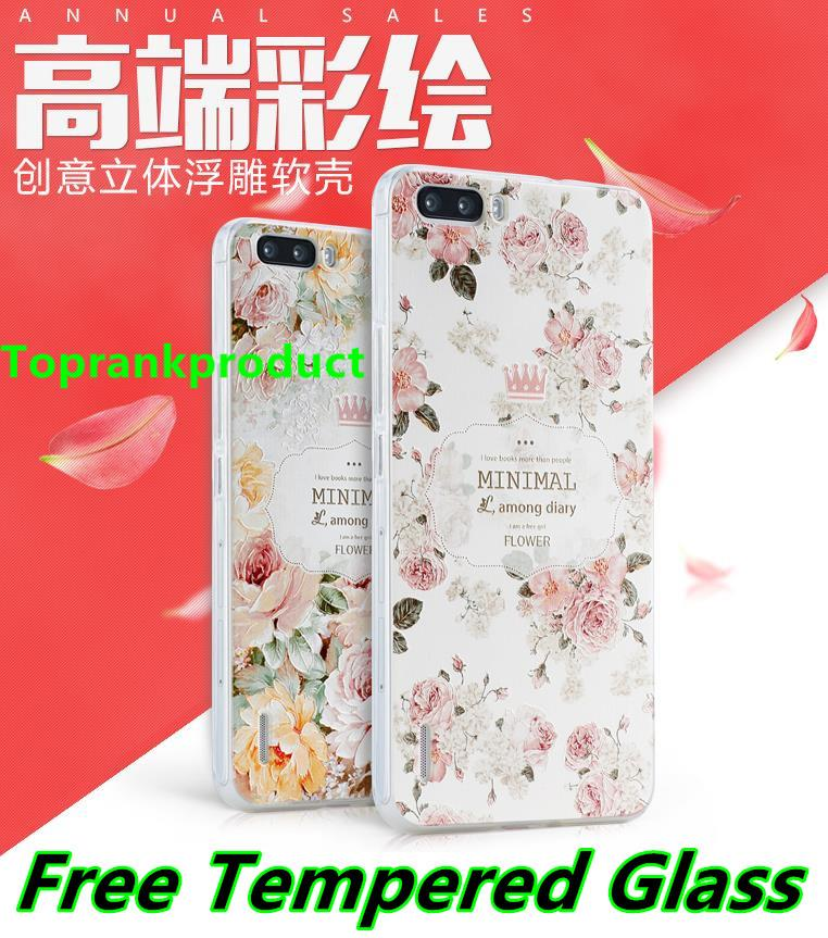 Huawei Honor 6 / Plus 3D Silicone Case Cover Casing + Tempered Glass