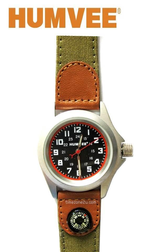 HUMVEE MILITARY Campers Watch with Compass (Canvas Leather Strap)