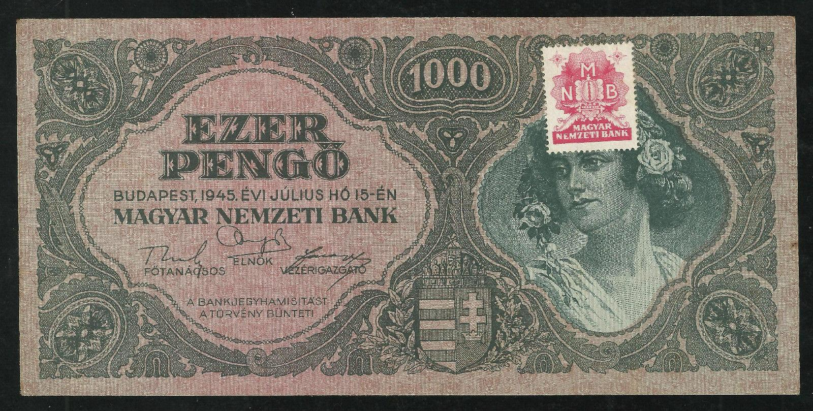 Hungary 1945 1000 pengo with red stamps vf-xf