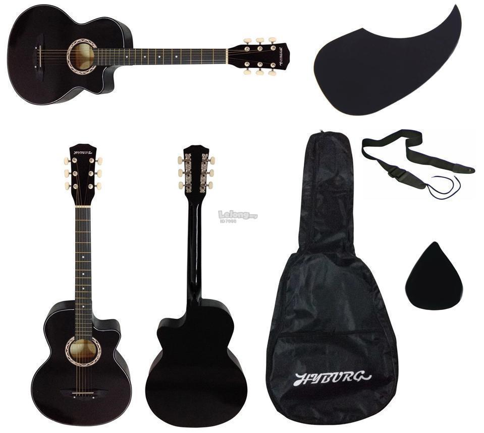 HYBURG Acoustic Guitar 38 Inch(Black)+Bag+Pick+Pickguard+Strap