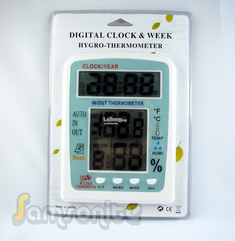 Hygro-Thermometer Digital Clock & Week