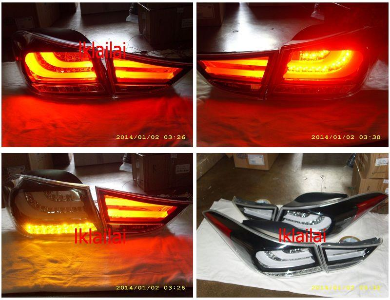 Hyundai Elantra '11 LED Light Bar Tail Lamp Black Housing Clear Lens