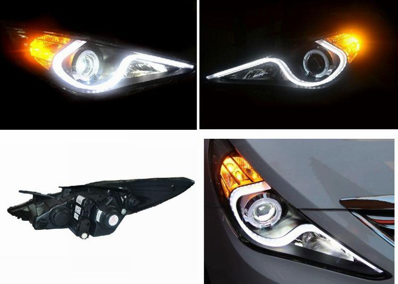 Hyundai Sonata i45 '10-13 LED Ring Projector Head Lamp LED DRL R8