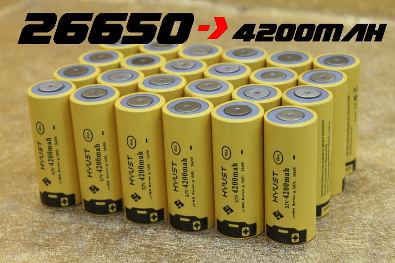 Hyust 26650 4200Mah 60A 3.7V Lithium-ion Rechargeable Battery