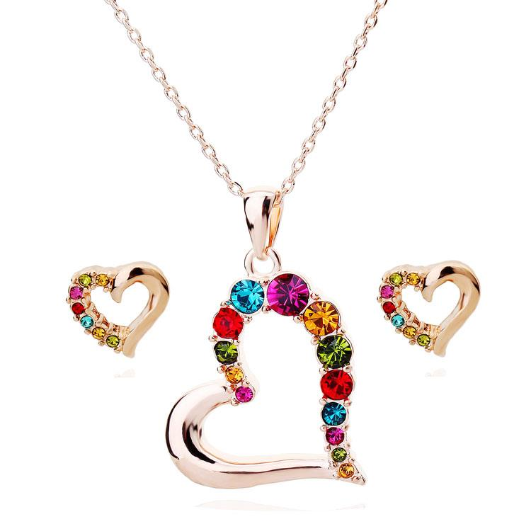 I'm in Love Multicolor Swarovski Crystal Pendant Necklace and Earring