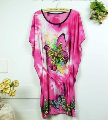 Ice Silk Free Size Colourful Pattern Short Sleeves Dress YMY-006