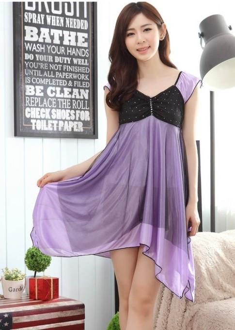 Ice Silk Irregular Temptation Sexy Lingrie (Light Purple)