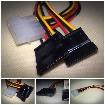 IDE to 2 Serial ATA Hard Drive SATA HDD Power Cable