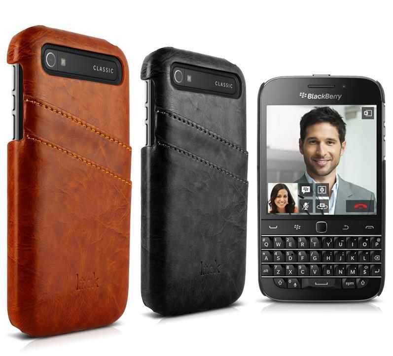 Imak Blackberry Classic Q20 Card Slot Leather Back Case Cover Casing