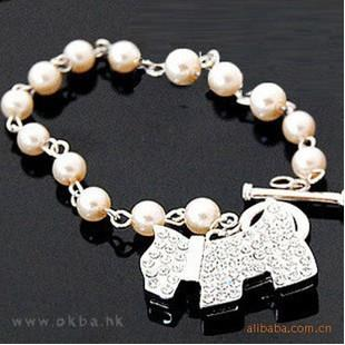 Imitate-diamond Puppy Pearl Bracelet 14039