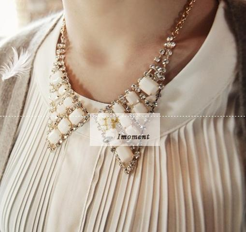 Imoment - Fashionable Hot Sale Fake Collar Necklace White (YW12031803)