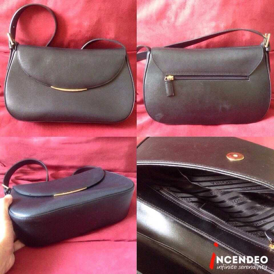 **incendeo** - Authentic BONIA Black Genuine Leather Handbag