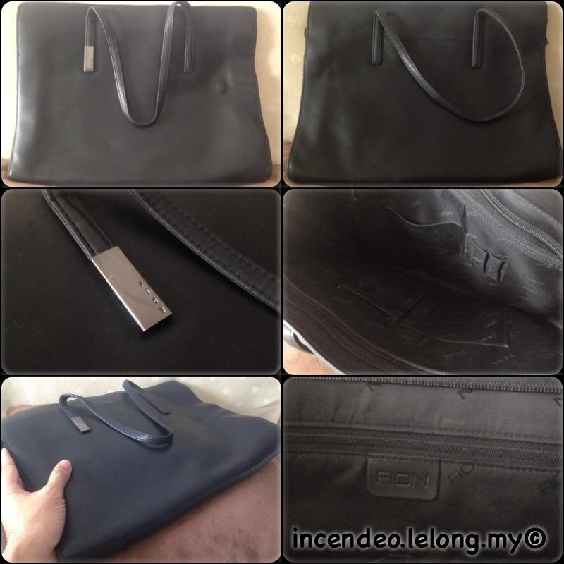 **incendeo** - FION Black Genuine Leather Executive Top Handle Bag