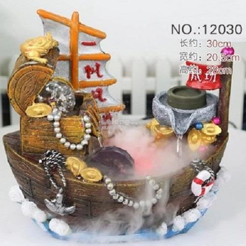 indoor tabletop water fountain Feng Shui treasurer ship Decoration Gif