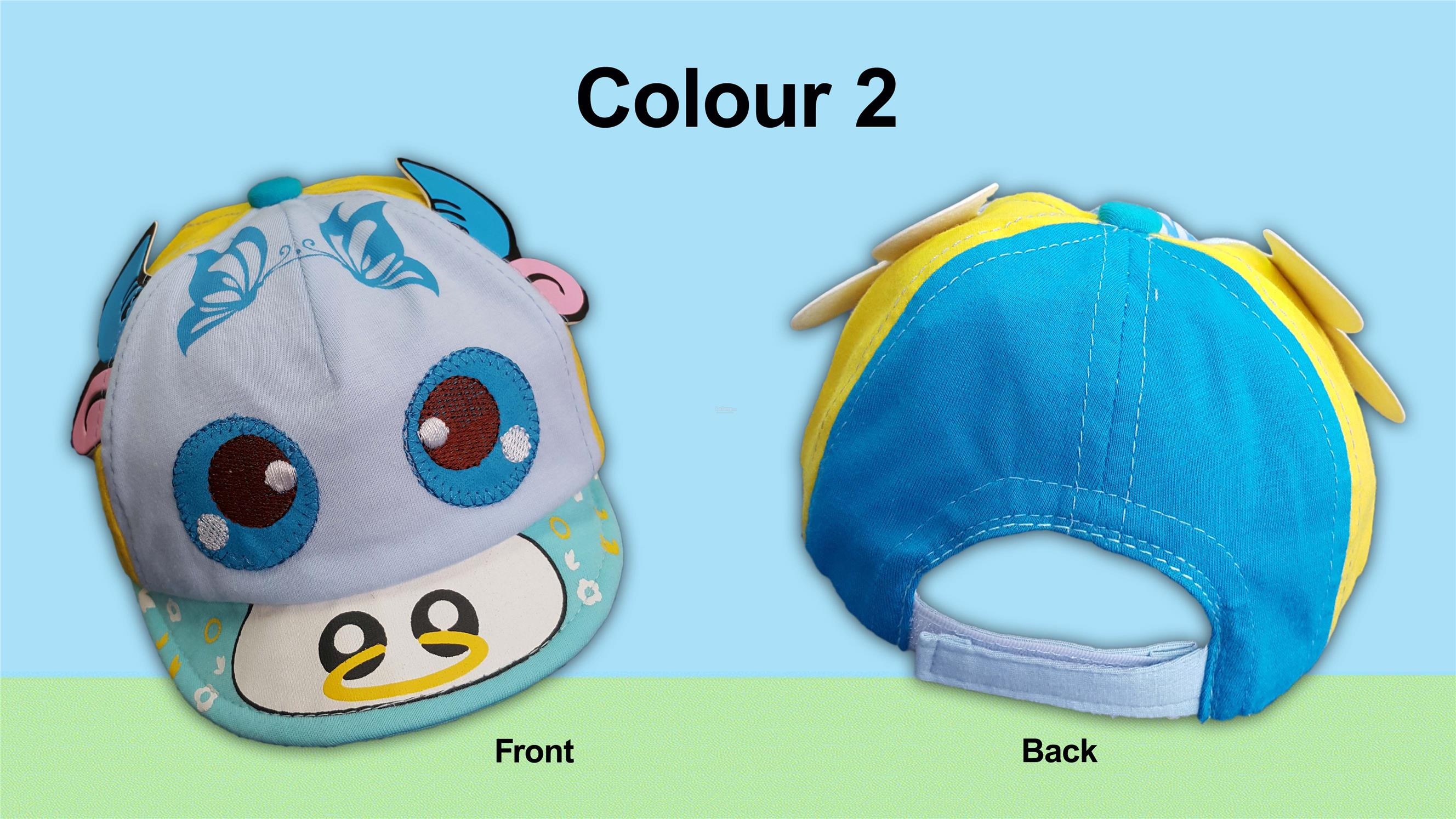 Infant Boys Caps with Printings and Bull Applique