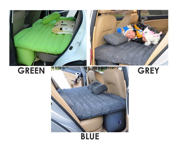 INFLATABLE CAR SEAT BLUE GREEN GRAY
