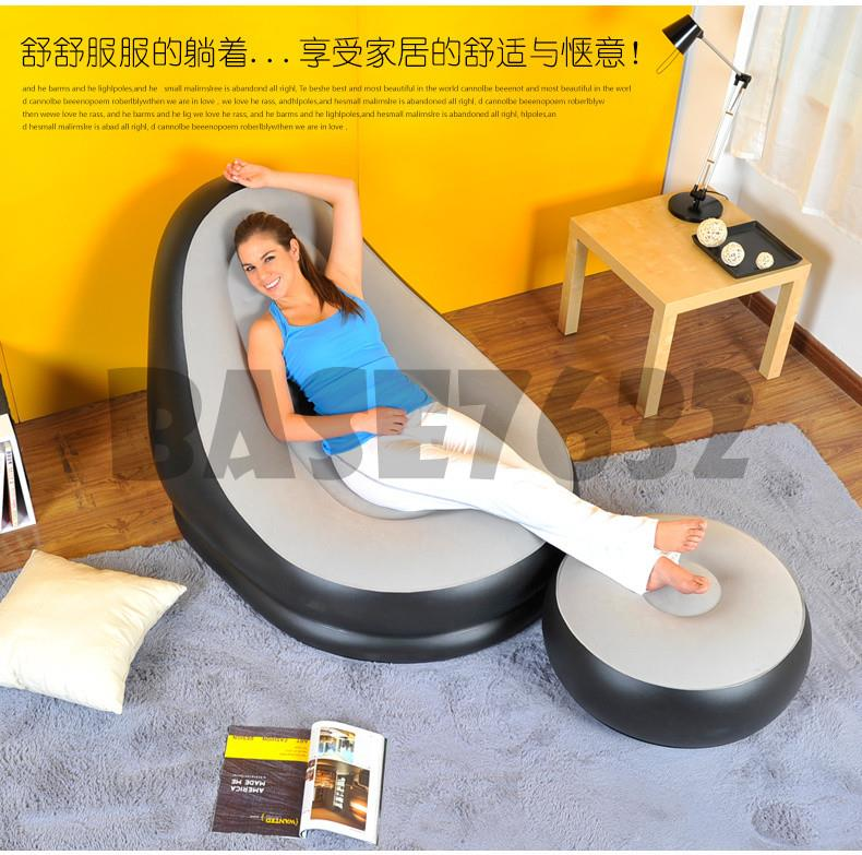 Inflatable  Single Sofa Couch Seat w/ Foot Rest Lounge Lazy Recliner