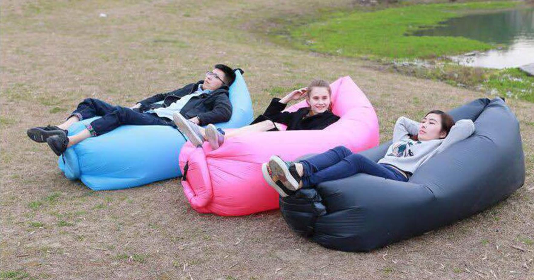 Inflatable sleeping bag lamzac in Europe and America with the beach