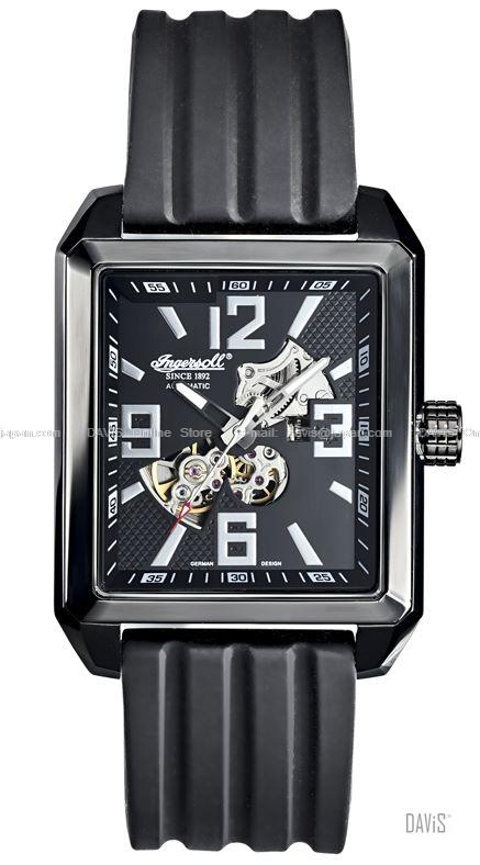 INGERSOLL IN7909BBK Auto Clearwater Skeleton Square M-Black Resin LE