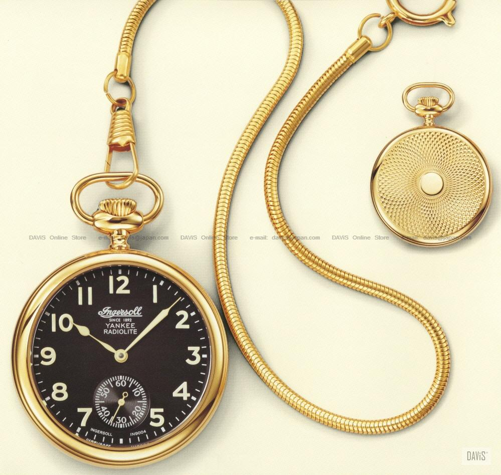 INGERSOLL IN9004GBK Auto Radiolite Pocket Watch U-Black Gold Chain LE