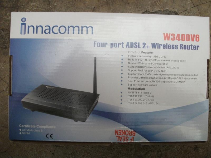 Innacomm W3400V6 4 port ADSL2+ Wireless Modem Router
