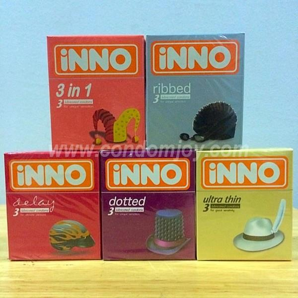 iNNO 3 in 1 & Ribbed & Delay & Dotted & Ultra Thin Condoms 3pcs x 5