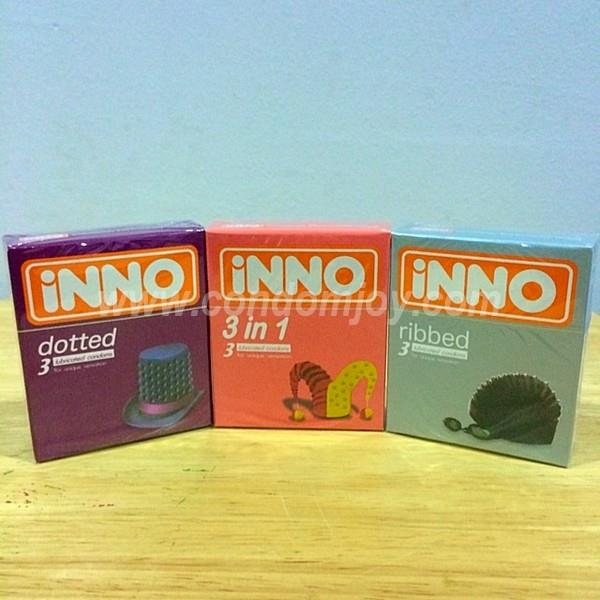 iNNO Dotted & 3 in 1 & Ribbed Lubricated Condoms 3pcs x 3 boxes