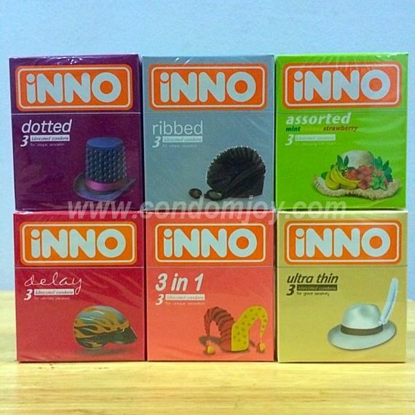 iNNO Dotted Ribbed Assorted Delay 3in1 Ultra Thin Condoms 3pcs x 6