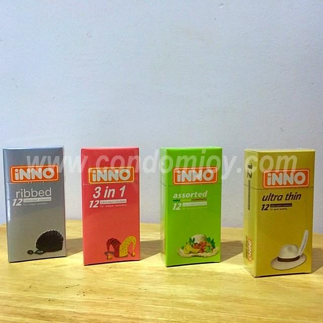 iNNO Ribbed & 3in1 & Assorted & Ultrathin Lubricated Condom 12pcs x 4