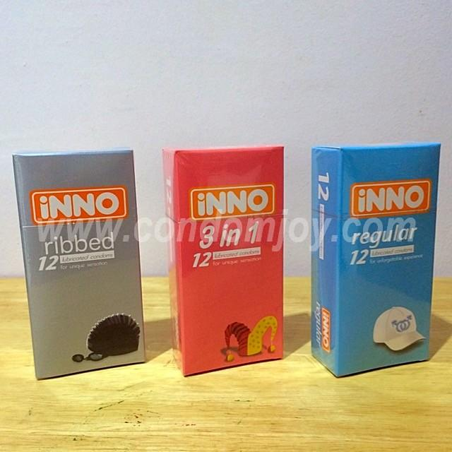 iNNO Ribbed & 3in1 & Regular Lubricated Condoms 12pcs x 3 boxes