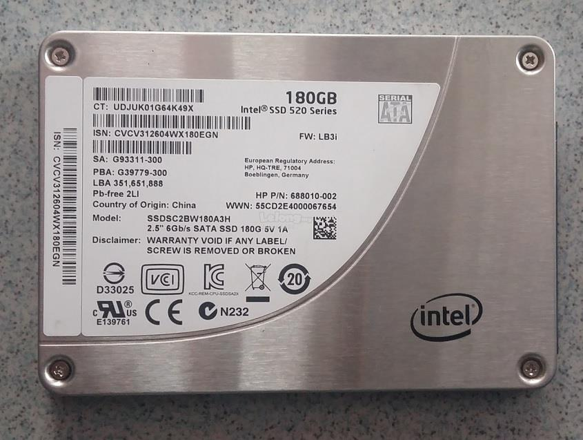 Intel 180GB SSD 520 Series SATA III HDD Hard Drive