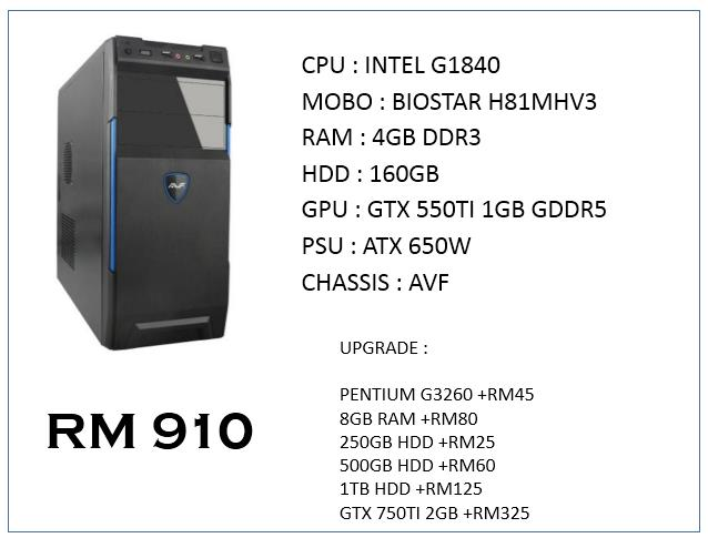INTEL G1840 / GTX 550TI GAMING PC