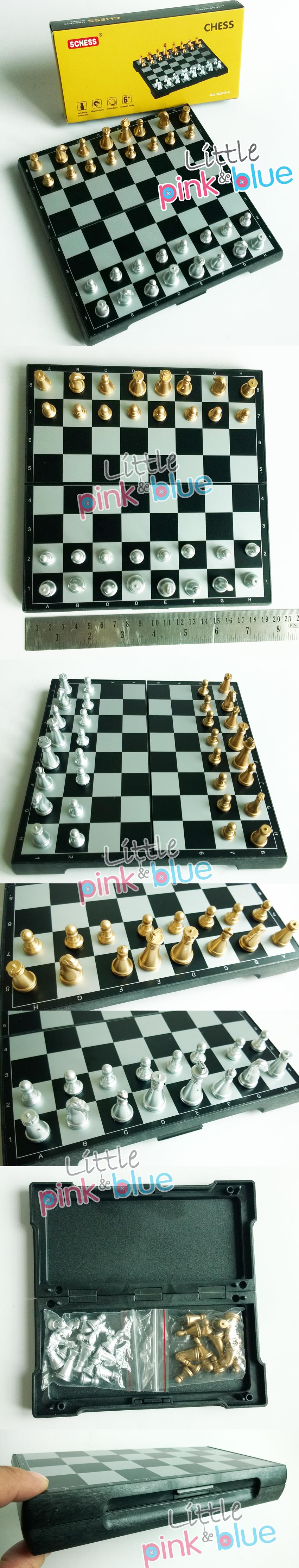 International Magnetic Portable Folding Gold & Silver Col. Chess Board